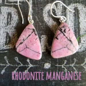 Pink Stone Earrings Sterling Silver NEW